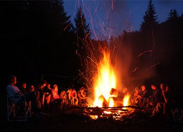 Camp Fire At Meher Retreat